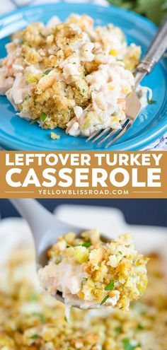 Keep this Leftover Turkey Casserole on hand for using up leftovers this Thanksgiving! Turkey and veggies in a creamy sauce with crispy stuffing topping. #leftoverturkey #turkeyrecipes