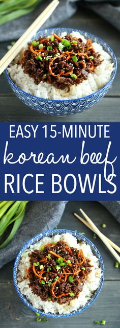 These Easy Korean Beef Rice Bowls make the perfect healthy weeknight meal that's ready in about 15 minutes! Recipe from thebusybaker.ca! #koreanbeef #easykoreanbeefricebowls #ricebowls via @busybakerblog