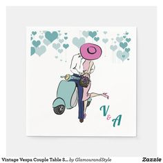 Vintage Vespa Couple Table Setting Paper Napkins Vespa Illustration, Fashion Illustration Vintage, Couple Illustration, Vintage Vespa, Vintage Wedding Gifts, Gifts Love, Vintage Heart, Paper Napkins, Wedding Couples