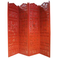Superb Carved Lacquered Screen / Room Divider