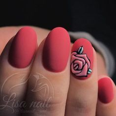Matte red elagant simple romantic rose San Valentine nail art