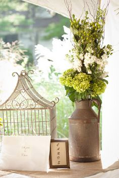 Spring wedding table centerpiece