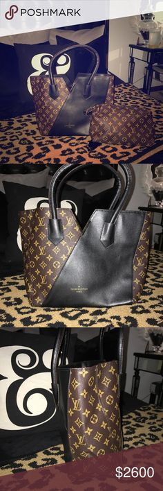 Louis Vuitton monogram calfskin kimono noir black 💕open to trades!💕 This stylish tote is crafted of Louis Vuitton monogram canvas with an overlapping layer of rich calfskin leather in black. The bag features thin rolled black leather strap handles and a polished brass Louis Vuitton V embellishment. In excellent condition! Louis Vuitton Bags Totes