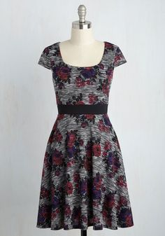 Grand Gathering Guru Floral Dress - Multi, Grey, Floral, Print, Casual, A-line, Short Sleeves, Fall, Knit, Better, Grey, Mid-length