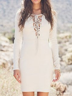 Shop White Plunge Neck Lace Up Front Long Sleeve Bodycon Mini Dress from choies.com .Free shipping Worldwide.$14.9