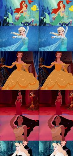 """What if Disney princesses had realistic waistlines? Healthier waistlines for them and healthier self-esteem for us growing up. Buzzfeed's Loryn Brantz decided to digitally edit six famous Disney ladies -- Ariel (""""The Little Mermaid""""), Pocahontas (""""Pocahontas""""), Jasmine (""""Aladdin""""), Belle (""""Beauty and the Beast""""), Aurora (""""Sleeping Beauty"""") and Elsa (""""Frozen"""") -- to show what the cartoon heroines would look like if they had more realistic physical proportions."""