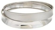 Italian Jewelry Collection Italian Silver Average Cross-Over Design Bangle, Sterling, 21.0g