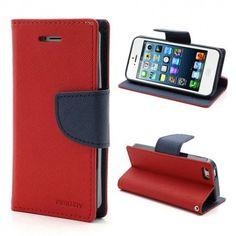 Apple iPhone 5 / 5S Punainen Fancy Lompakkokotelo  http://puhelimenkuoret.fi/tuote/apple-iphone-5-5s-punainen-fancy-lompakkokotelo/