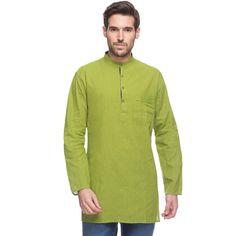 In-Sattva Men's Shatranj Indian Fine Banded Collar Mid-length Kurta Tunic