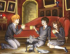Harry Potter Trio by ~escapencil. Looks like Ron found Trevor...
