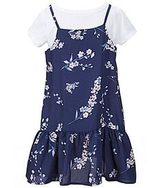 Copper Key Little Girls 46X FloralPrinted RuffleHem Slip Dress and ShortSleeve Solid Tee #Dillards