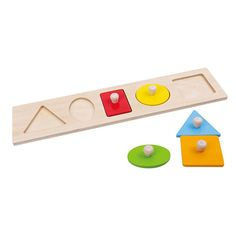 Let's Learn Shapes! Wooden Puzzle and thousands more of the very best toys at Fat Brain Toys. Young ones will delight in exploring the vivid colors and contours of the five wooden shapes, each featuring sturdy pegs for easy grabbing and maneuvering. Match them with the slots in the board for a lasting adventure in tactile exploration and learning!
