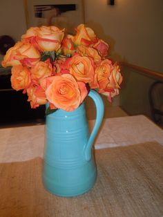 orange roses orange and blue centerpiece bridal shower