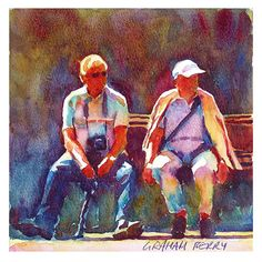 """Bench for two by Graham Berry Watercolor ~ 8"""" x 8"""""""