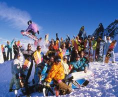 Love it or hate it, the Safari print has been part of Burton's history for decades, as prominently displayed in this group shot from Burton Training Camp circa 1989. Photo: Stefan Fiedler #BurtonArchives #TBT