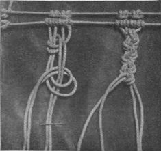 The double knotted bar, a stitch much used in macrame work in which two threads and two foundation cords are used
