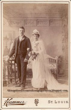 Forgotten Faces and Long Ago Places: Wedding Wednesday - Newlywed 1890's St.Louis, MO Couple