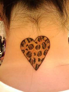 Leopard Heart Tattoo On Back Neck Tattoo Son, Sister Tattoos, Girl Tattoos, Tattoos For Guys, Heart Tattoos, Print Tattoos, Tattoo Quotes For Women, Tattoos For Women Small, Dream Tattoos