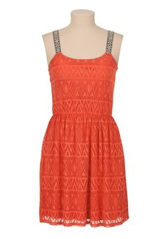 Patterned lace dress with embroidered straps