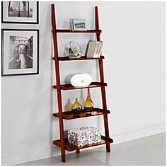 @Overstock - This unique leaning ladder shelf features a beautiful cherry finish and is a versatile and stylish addition to any room in your home. Five tiered shelves offer storage or placement to decorative items.http://www.overstock.com/Home-Garden/Five-tier-Cherry-Leaning-Ladder-Shelf/5274128/product.html?CID=214117 $85.99
