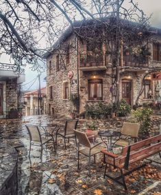 Good Morning Rainy Day, Travel Aesthetic, Greece, Around The Worlds, Cabin, Mansions, Photo And Video, Architecture, House Styles