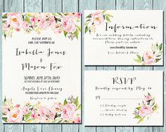 Einladung Set Hochzeit Einladung Pink von HappyLifePrintables