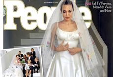 Vestido de noiva de Angelina Jolie foi bordado com desenhos de seus filhos - Blue Bus