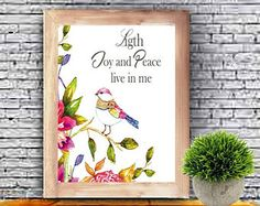 Ligth Joy and Peace live in me, Positive Affirmation,Inspirational Art, Watercolor Printable, Quote Printable, Download