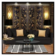 Black&Gold by avarose123 on Polyvore featuring interior, interiors, interior design, home, home decor, interior decorating, DAY Birger et Mikkelsen, Eichholtz and COS