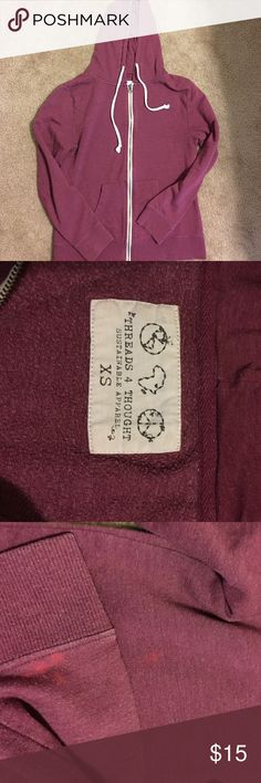 Threads 4 Thought burgundy hoodie, size XS great color hoodie! Soft, fitted Burgundy hoodie from Threads 4 Thought. Small discolorations as pictured Threads 4 Thought Tops Sweatshirts & Hoodies