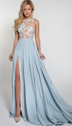 Beautiful Silk Evening Dress with Flowers on Top Grad Dresses, Cute Dresses, Bridal Dresses, Bridesmaid Dresses, Formal Dresses, Blue Evening Dresses, Evening Gowns, Fantasy Dress, Beautiful Gowns