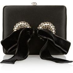 Embellished satin box clutch
