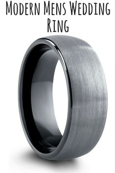 Mens black and tungsten wedding band with a modern appeal. The top of this ring is designed with a textured brushed finish and a black high polish interior.