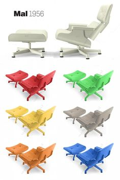 brightly colored, outdoor version of the iconic Eames Lounge Chair | Tribute MAL-1956 | great Netherlands website!
