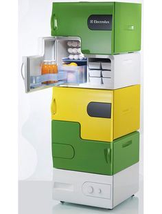 concept Modular Refrigerators - Each person can have their own compartment.  (Add a lock for each section, and you'll never have roommate frig trouble again!)