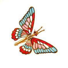 18k Gold Plique a Jour Enamel Butterfly Pin Brooch Articulated Wings #vbantiquejewelry