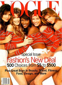 Supermodels of the 1990s: Helena Christensen. Claudia Schiffer, Naomi Campbell, Christy Turlington and Stephanie Seymour on the cover of U.S. Vogue - April 1993... www.fashion.net