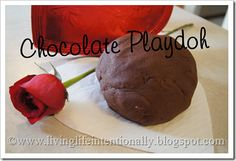 Valentine's Day Activity - Easy to make Chocolate Playdough! Smells amazing and 1 year later is still as fresh as it was when I made it 1 year ago!