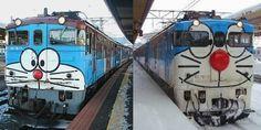 Fotos de trenes decorados con diversos motivos en varios lugares de Japón. ¿Qué personajes o series podéis reconocer? Fotos recopiladas por Pink Tentacle. Anotaciones relacionadas Odakyu Doraemon T…