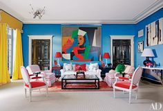 8 Bold and Fun Interiors by Miles Redd Photos | Architectural Digest: Primary colors make a big impact in the living room.