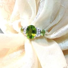 Peridot Ring or Engagement Ring Handmade by NorthCoastCottage  Beautiful classic ring
