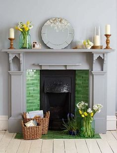 Great Images victorian Fireplace Hearth Suggestions Rustic materials, such as rattan and timber, create visual and physical contrast and look fantastic Candles In Fireplace, Paint Fireplace, Fireplace Surrounds, Fireplace Design, Tiled Fireplace, Fireplace Ideas, Grey Fireplace, Bedroom Fireplace, Painted Fireplace Mantels