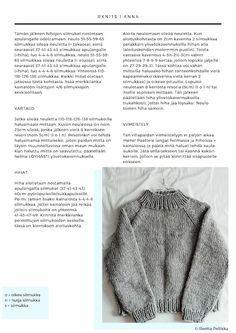 NEULEOHJE YKSINKERTAISEEN JA HELPPOON PAKSUUN VILLAPAITAAN | RKNITS ANNA | Fashion Statement Anna, Bohemian Style, Knit Crochet, Men Sweater, Pullover, Sewing, Knitting, Sweaters, Jackets