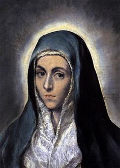 Virgin Mary, 1585 by El Greco, Spanish period. Mannerism (Late Renaissance). religious painting. Musée des Beaux-Arts de Strasbourg, Strasbourg, France