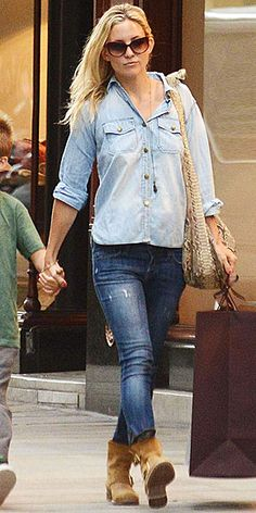 KATE HUDSON  Denim-on-denim can be an intimidating trend to try, but Kate shows it's easy to pull off. To avoid looking like you just stepped off the ranch, wear contrasting washes and team it with city-chic accessories (we love the actress's ankle-boots and cat eye shades!).