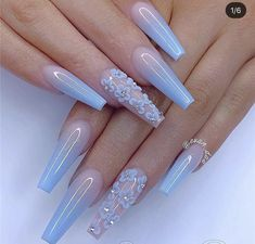 40 Fabulous Nail Designs That Are Totally in Season Right Now - pretty nail art designs,almond nail art design, acrylic nail art, nail designs with glitter Nail Design Glitter, Cute Acrylic Nail Designs, Pretty Nail Designs, Pretty Nail Art, Nails Design, Blue Nails With Design, Blue Nail Designs, Different Nail Designs, Best Nail Art Designs