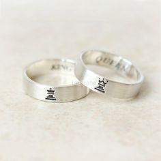 Horizontal King and Queen Ring in sterling van laonato op Etsy