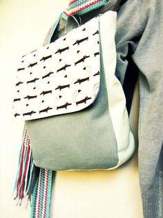 Купить Рюкзак женский с лисами из ткани серый - серый, мятный, бирюзовый и серый, рюкзак женский