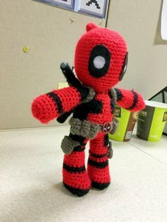 A cute Deadpool made from my original pattern This one was actually my 2nd attempt. My first one looked like crap loll Took me about 2 weeks, on & off, to get it *jusstttttt* right...