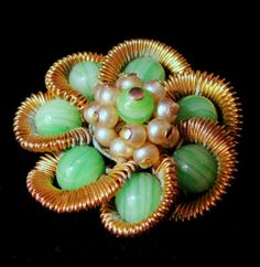 Weiss Signed Brooch Vintage Gold Tone Faux Pearls and Green Beaded Pin | eBay